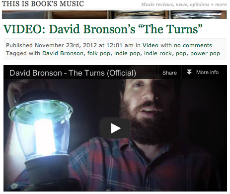 David Bronson The Turns music video on This Is Book's Music