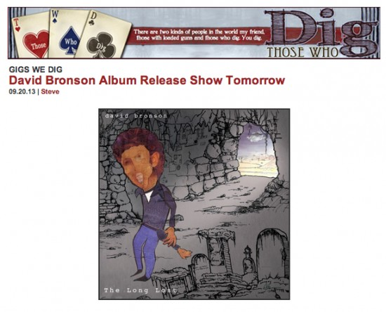 Preview of David Bronson's 'The Long Lost' album release party at Brooklyn Bowl, Sept 21, 2013