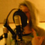 Maria Neckam recording vocals on The Long Lost Story