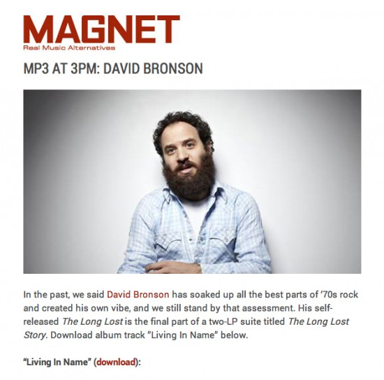 David Bronson's 'Living in Name' is the MP3 AT 3PM at MagnetMagazine.com