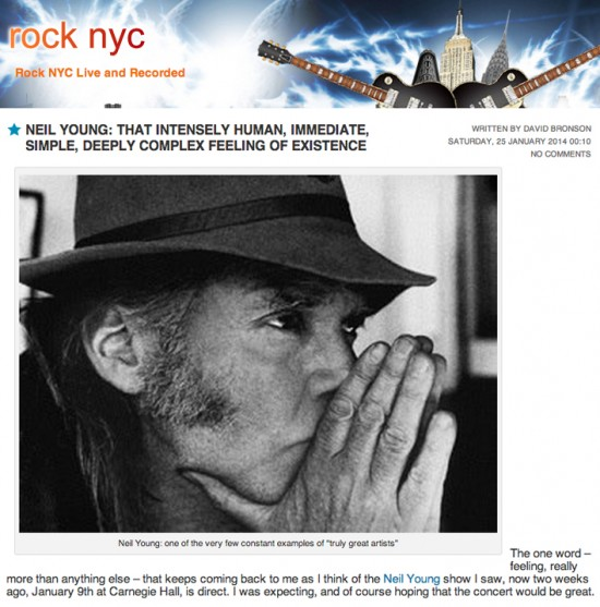 Review of Neil Young at Carnegie Hall, Jan 09, 2014 by David Bronson