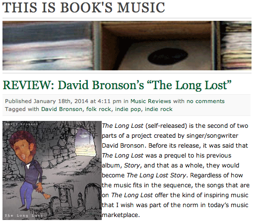 This Is Books Music album review of David Bronson's The Long Lost