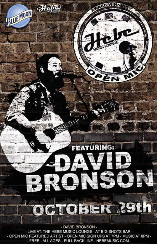 David Bronson performs in Burlington, NJ, Wed Oct 29 @ 9:30pm st kick off a 3 night mini Halloween tour