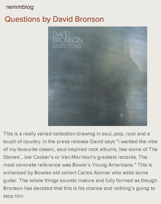 UK's NE:MM reviews David Bronson's forthcoming album Questions.