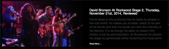 Review of David Bronson at Rockwood Music Hall by Rock NYC Live and Recorded