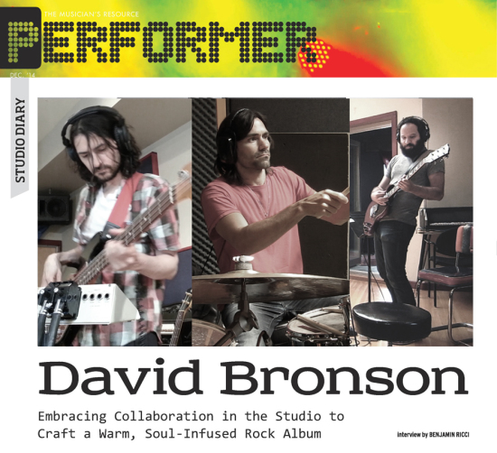 Performer Magazine's Studio Diary with David Bronson and Godfrey Diamond on the making of his new album Questions.
