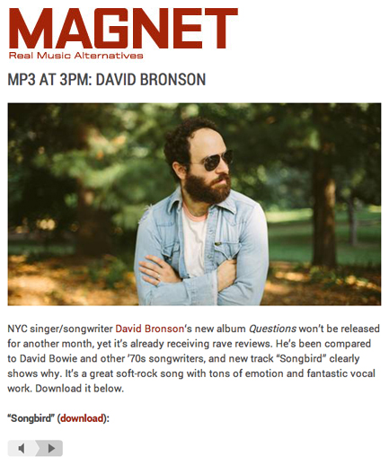 "MAGNET Magazine's MP3 at 3PM is David Bronson's ""Songbird"""