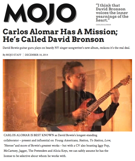 MOJO's interview with long-standing Bowie collaborator Carlos Alomar on his new work with NY singer-songwriter David Bronson