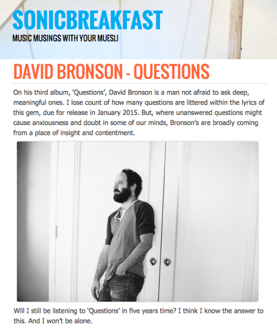 David Bronson's album Questions reviewed by Sonic Breakfast (UK)