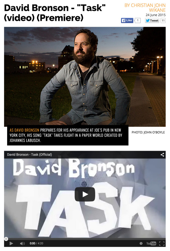 "PopMatters.com premiers David Bronson's newest video, for his song ""Task"" from his 2015 album Questions."